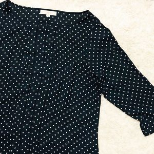 Loft Navy Polka Dot 3/4 sleeve blouse
